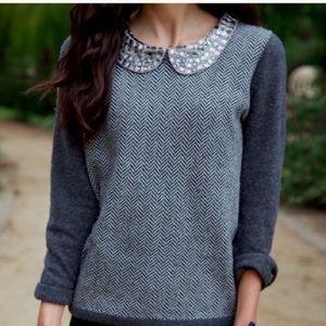 J. Crew Herringbone Jewel Collar Sweater - Grey